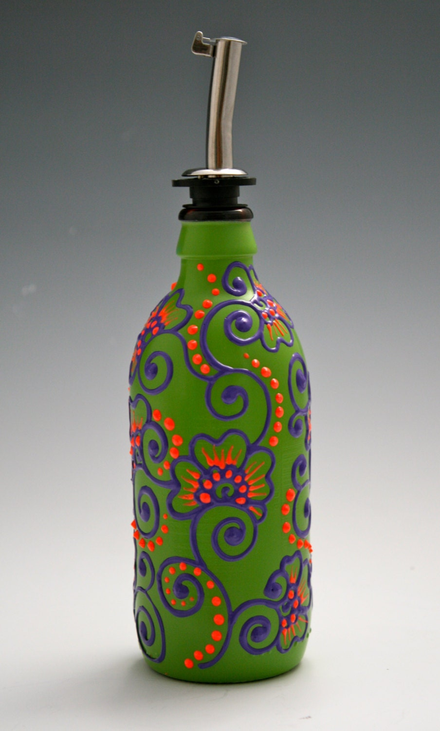 Hand painted glass bottle olive oil pourer candy by lucentjane for Hand painted glass bottles