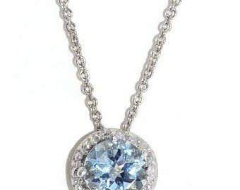 Aquamarine & Diamond Round Pendant .925 Sterling Silver