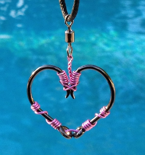 Fish hook heart necklace pink on black hooks by for Fish hook charm