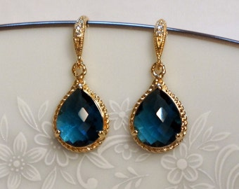 Gold Sapphire Blue Earrings, Bridal Jewelry, Bridesmaid Earrings, Blue Earrings
