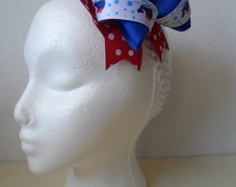 Whale Red and Blue Hair Bow
