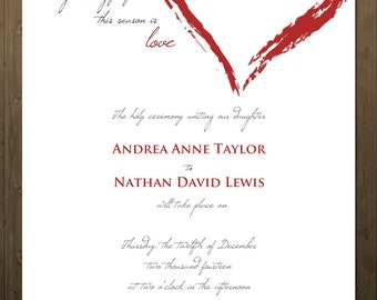 Red Heart Wedding Invitation and RSVP card - customizable, 4x6, 5x7, hearts, red, love