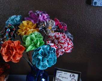 Half Dozen Mix and Match Custom Upcycled Long Stemmed Fabric Roses