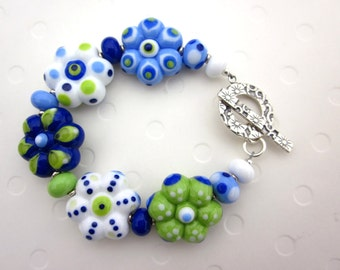 Blueberry Flowers Lampwork Glass Beads Sterling Silver Clasp Bracelet
