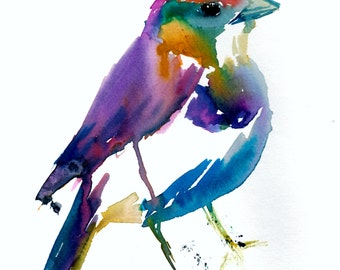 Colorful Bird Print, Print of Bird, Watercolor Bird Print, Abstract Bird Art, Fine Art Bird Painting, Watercolor Animal, Nursery Art
