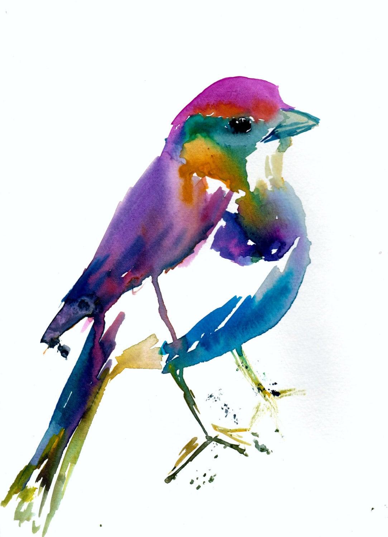 Colorful Bird Print Print of Bird Watercolor Bird Print