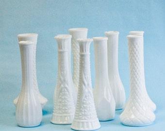 10 Milk Glass Bud Vase Vintage Collection, DIY Wedding Decor, Milk Glass Vase Bundle Lot