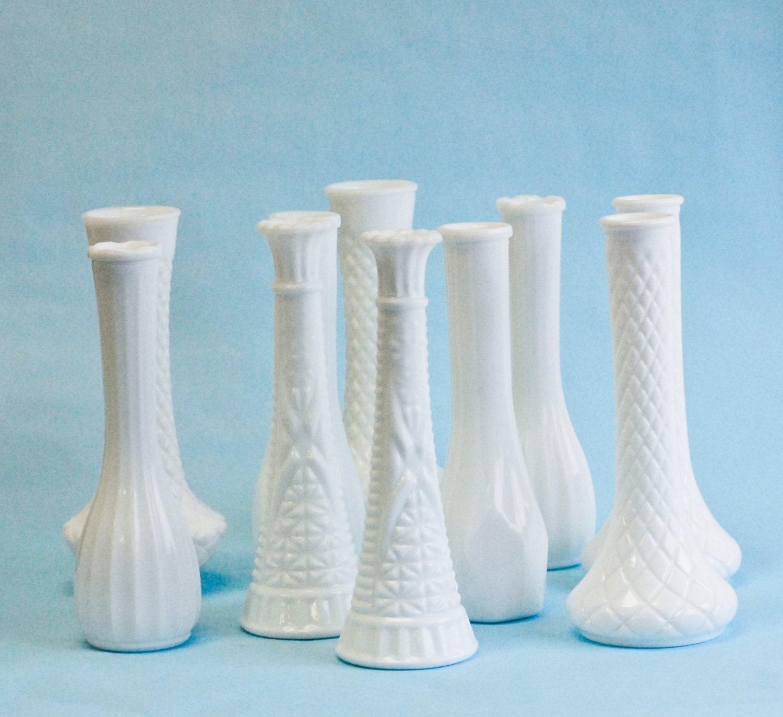 10 milk glass bud vase vintage collection diy wedding decor. Black Bedroom Furniture Sets. Home Design Ideas