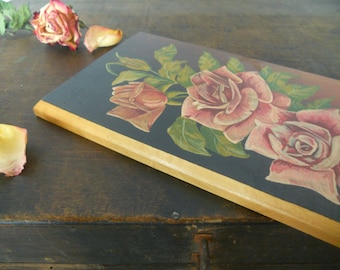 Soviet vintage wall plaque Handpainted wall decor with roses Wooden floral wall hanging 60s made in Latvia