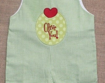 Valentine Olive Shortall, Personalized Olive You Gingham Shortall