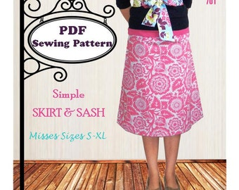 Simple Skirt & Sash -- PDF Sewing Pattern -- Ladies S-XL