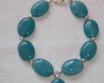 Bracelet - Teal or Blue Green Quartzite, Hand Crafted, Ooak