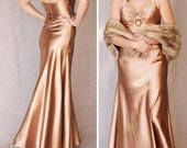Champagne Gold Satin Gatsby Inspired Gown by Jessica McClintock for Gunne Sax  size7/ 8