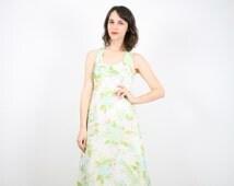 Vintage Hippie Dress Maxi Dress Hippie Wedding Dress Backless Floral Print Dress Ivory Boho Festival Sundress 1960s 60s S XS Extra Small