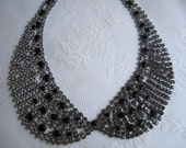 Collar Necklace - Black Rhinestone/Gun Metal Finish