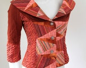 """Retro Style """"Fantastic Fifties"""" Womens Tailored Fitted Patchwork and Faux Chenille Jacket ,Orange and Pink, Geometric Triangle Design"""