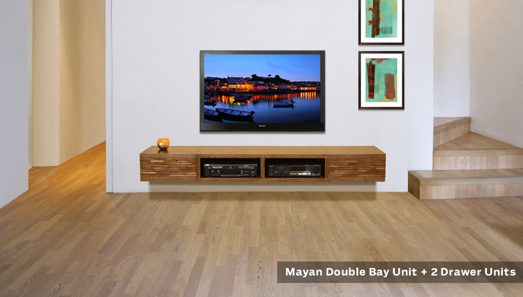 floating tv stand entertainment console mayan by woodwavesinc. Black Bedroom Furniture Sets. Home Design Ideas