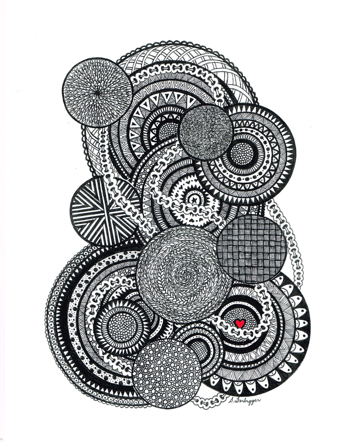 black and white zentangle abstract by limegreenartshop on etsy. Black Bedroom Furniture Sets. Home Design Ideas