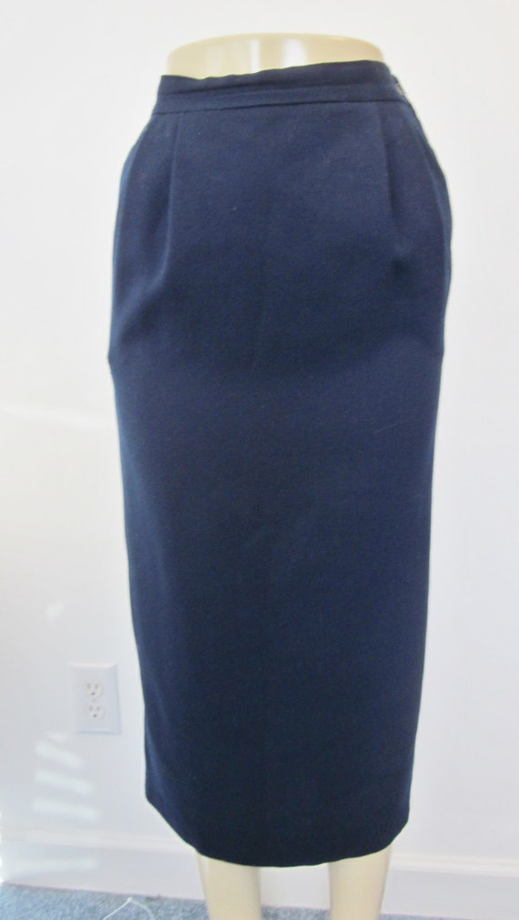 Vintage 70s Navy Wool Skirt Long Pencil Skirt Navy Blue Maxi