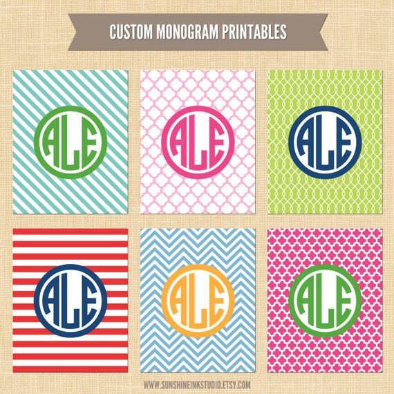 Items similar to Preppy Custom Monogram Artwork Printable ...