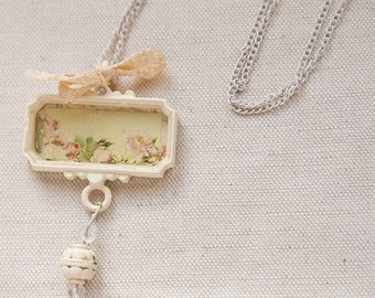 Pink Green Roses Trinket Pendant Cottage Chic White Chain Necklace
