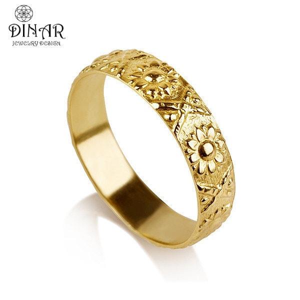 Wedding Flowers And Rings: 14k Gold Flower Wedding Band Ring Sunflower Wedding Ring