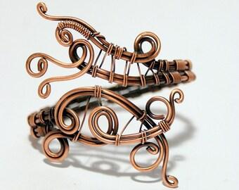 cuff bracelet wire wrapped jewelry handmade bracelet copper jewelry wire wrap bracelet