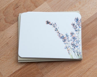 French Lavender Personalized Stationary, Eco Friendly stationery Set of 12 Note Cards, Gift for Her