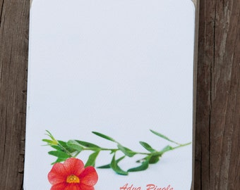 Red Flower Custom Stationary Set, Botanical Note Cards, Personalized Gift
