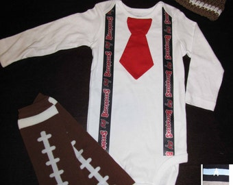TAMPA BAY BUCCANEERS inspired football outfit for baby boy - tie bodysuit with suspenders, crochet hat, leg warmers