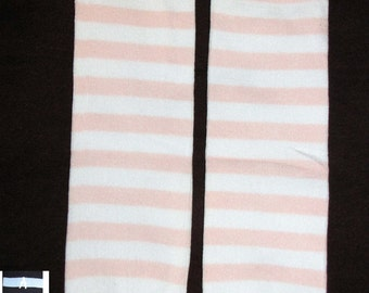 LIGHT PINK STRIPES baby leg warmers.  Great for babies, toddlers, and young kids