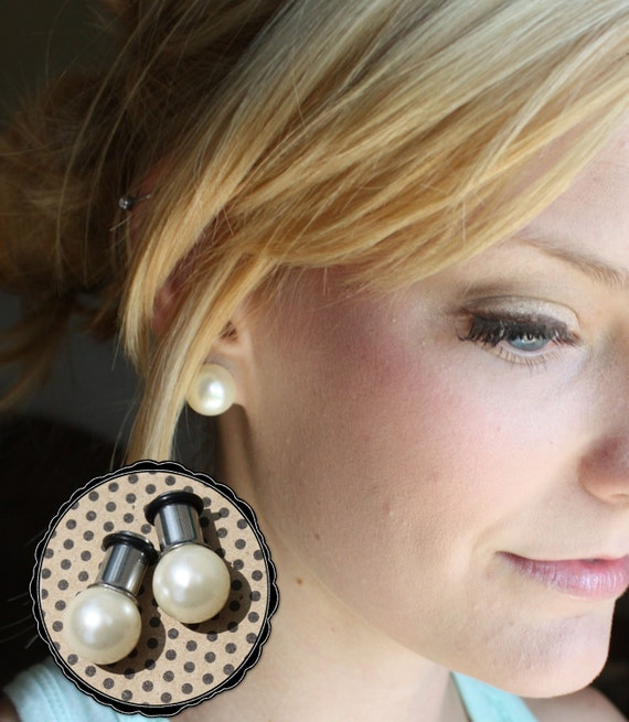 Pearl 12mm LARGE beige ball wedding plugs tunnels for by ...