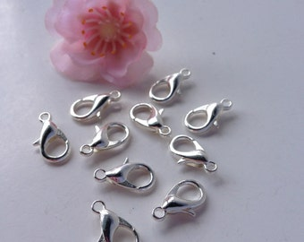 50 - 6x12mm Bright Silver Lobster Clasps