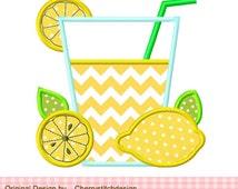 Lemonade digital applique -4x4 5x7 6x10-Machine Embroidery Applique Design