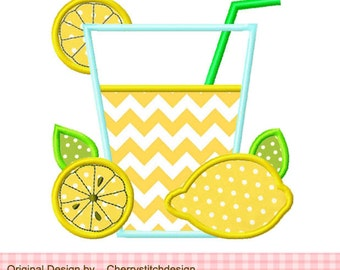 Lemonade Machine Embroidery Applique Design - 4x4 5x5 6x6""