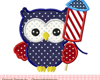 """4th of July owl Patriotic owl Machine Embroidery Applique -4x4 5x5 6x6"""""""