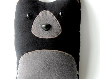 Black Bear Woodland Plush Stuffed Animal Pillow - Winston