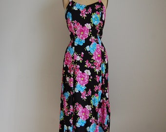 vintage 1980s dress / flower blossoms sarafan dress
