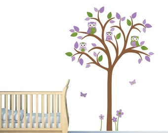 Owl tree wall decal, Owl tree wall sticker, Nursery Wall Decal, owl wall decal, purple nursery decor, Natalie Design / Brown Tree