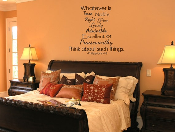 Items similar to whatever is true decal home vinyl decal for Bedroom furniture quotes