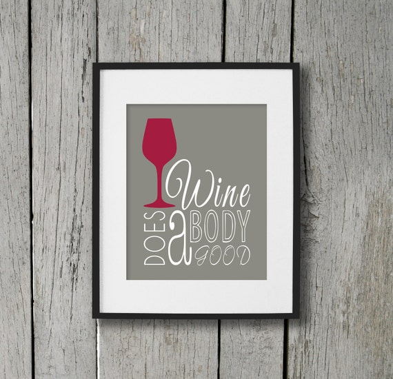 Wine art print dining room wall art poster wine does a for Dining room posters