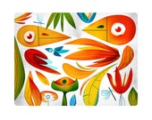 Natural Red. Color birds in a jungle. Illustration art giclée print signed by the artist. 40x50cm.