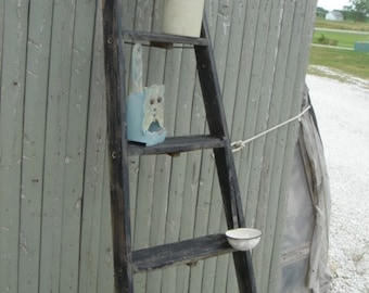 """Vintage Wooden 5 Step Ladder Shelf - 58"""" tall - Choose a Vintage Surface or Pick a Color"""