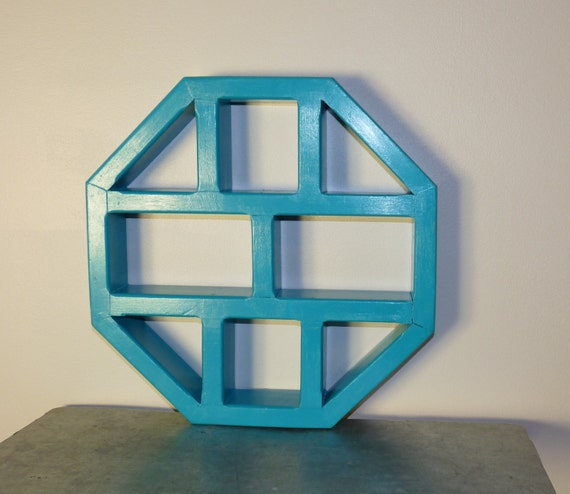 Decorative Wall Decor, Octagon Shelf, Wood Wall Decor, Teal/ Turquoise Wall  Hanging