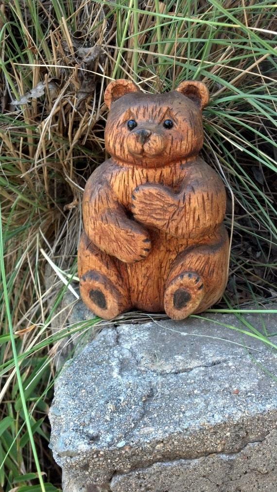 Vintage hand carved sitting wooden bear