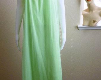 Green Chiffon Nightgown Medium Tosca Lime Chartreuse Medium