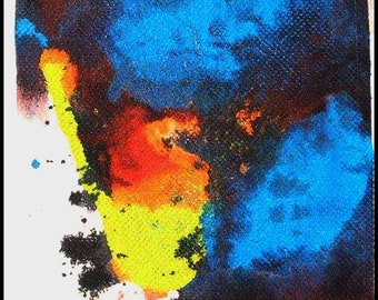 Original Painting - Abstract Painting with Blue, Yellow, Orange, Black, White by David Lawter