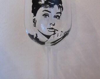 Hand Painted Wine Glass - AUDREY HEPBURN