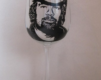 Hand Painted Wine Glass - TOBY KEITH - Country Music Singer, Song Writer, Actor, Record Producer