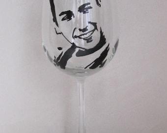 Hand Painted Wine Glass - ADAM SANDLER, Actor, Comedian, Film Producer